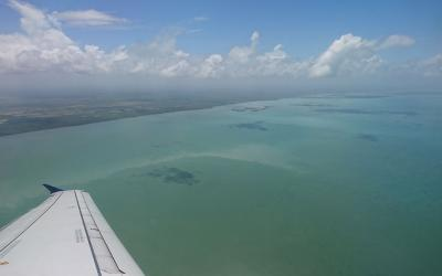 view from airplane over Belizean ocean
