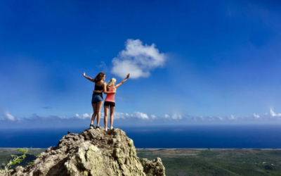 two ladies on a cliff looking over the caribbean ocean