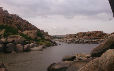 Photo of beautifull landscape near Hampi, India. Boulders all over the place.